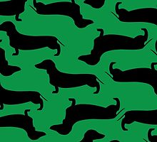 Dachund Sillhouette Green by WaggSwagg