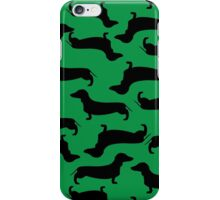 Dachund Sillhouette Green iPhone Case/Skin
