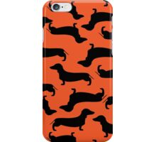 Dachund Sillhouette Orange iPhone Case/Skin