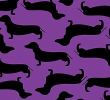 Dachund Sillhouette Purple by WaggSwagg