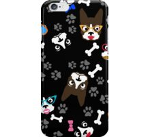 Boston Terrier Funny Faces Black iPhone Case/Skin