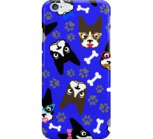 Boston Terrier Funny Faces Blue iPhone Case/Skin