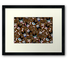 Boston Terrier Funny Faces Brown Framed Print