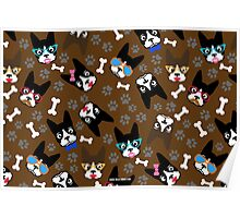 Boston Terrier Funny Faces Brown Poster