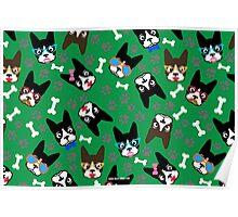 Boston Terrier Funny Faces Green Poster