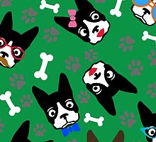 Boston Terrier Funny Faces Green by WaggSwagg