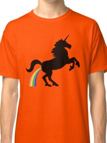 Unicorn Rainbow Poo (black design) Classic T-Shirt