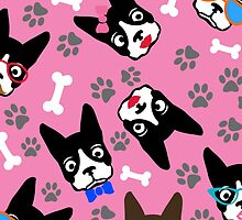 Boston Terrier Funny Faces Pink by WaggSwagg
