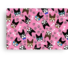 Boston Terrier Funny Faces Pink Canvas Print