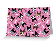 Boston Terrier Funny Faces Pink Greeting Card