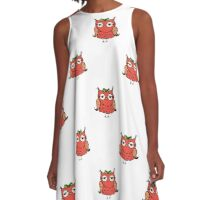doodle owl pattern background,hand drawing  A-Line Dress
