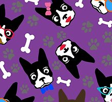 Boston Terrier Funny Faces Purple by WaggSwagg