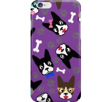 Boston Terrier Funny Faces Purple iPhone Case/Skin