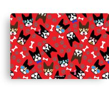 Boston Terrier Funny Faces Red Canvas Print