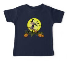 Halloween, witch on a broom, bats and pumpkins Baby Tee