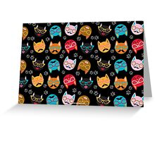 Cat Funny Faces Black Greeting Card