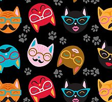 Cat Funny Faces Black by WaggSwagg