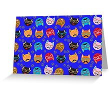 Cat Funny Faces Blue Greeting Card