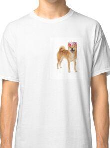 Shiba Inu Dog with a flower crown Classic T-Shirt