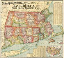 Vintage Map of New England States (1900)  by BravuraMedia