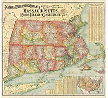 Vintage Map of New England States (1900)  Photographic Print