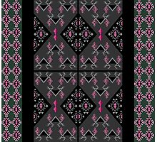 Birds and grapes black and grey kilim pattern Photographic Print