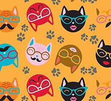 Cat Funny Faces Gold by WaggSwagg
