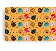 Cat Funny Faces Gold Canvas Print