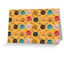 Cat Funny Faces Gold Greeting Card