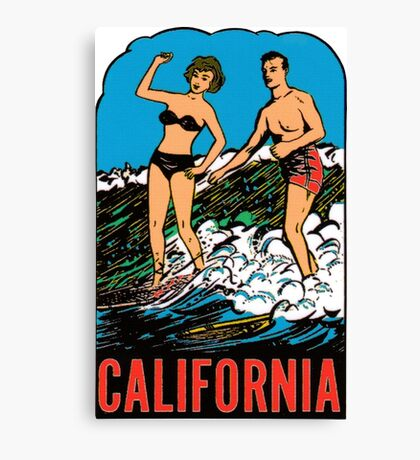 California CA State Surfing Vintage Travel Decal Canvas Print
