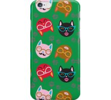 Cat Funny Faces Green iPhone Case/Skin