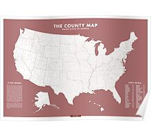 the County Map - red Poster