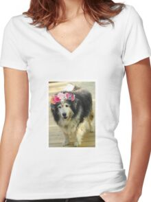 Leo from Old Friends Senior Dog Sanctuary Women's Fitted V-Neck T-Shirt