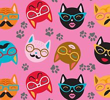 Cat Funny Faces Pink by WaggSwagg