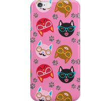 Cat Funny Faces Pink iPhone Case/Skin