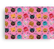 Cat Funny Faces Pink Canvas Print