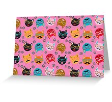Cat Funny Faces Pink Greeting Card