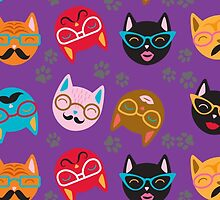 Cat Funny Faces Purple by WaggSwagg