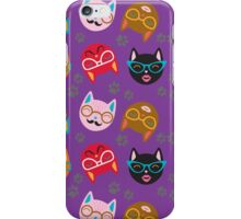 Cat Funny Faces Purple iPhone Case/Skin