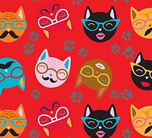 Cat Funny Faces Red by WaggSwagg