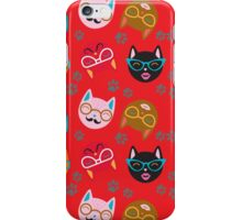 Cat Funny Faces Red iPhone Case/Skin