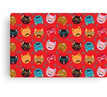 Cat Funny Faces Red Canvas Print
