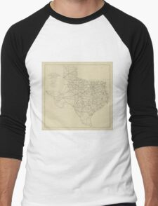 Vintage Texas Highway Map (1919) Men's Baseball ¾ T-Shirt