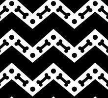 Dog Bone Chevron Black by WaggSwagg