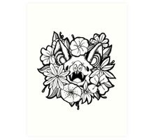 Happy Floral Bat Art Print