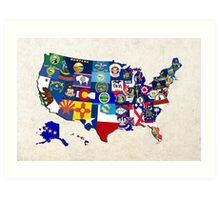 USA State Flags Map Mosaic Art Print