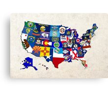 USA State Flags Map Mosaic Canvas Print