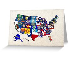 USA State Flags Map Mosaic Greeting Card
