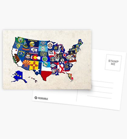 USA State Flags Map Mosaic Postcards