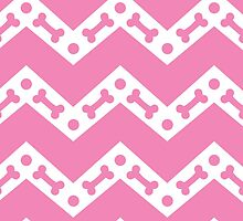 Dog Bone Chevron Pink by WaggSwagg